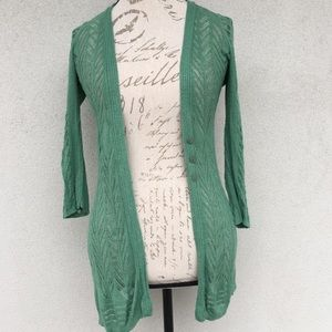 Anthropologie Guinevere Green Pointelle Cardigan